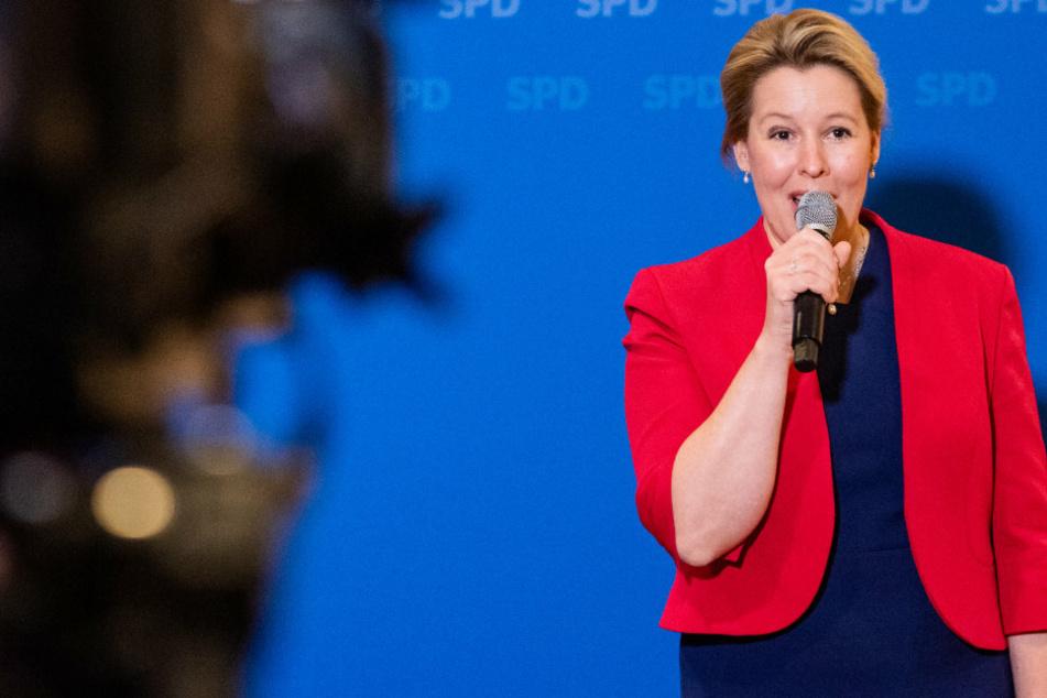 Franziska Giffey (42, SPD), neue Vorsitzende der Berliner SPD, spricht bei einer Pressekonferenz.
