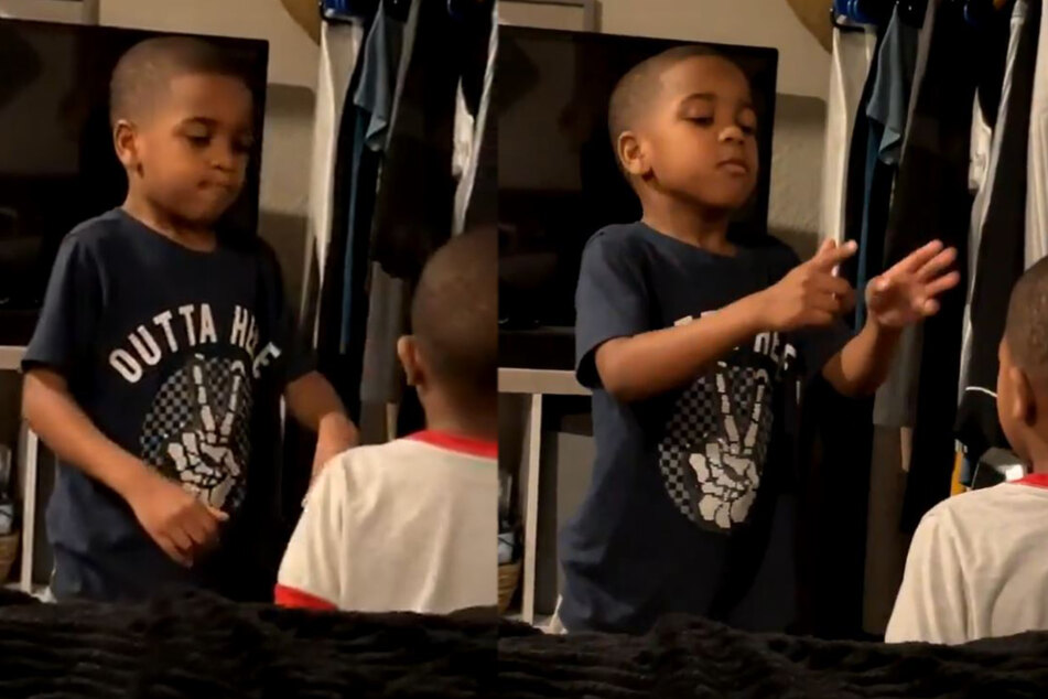 Brotherly love: little boy is about to throw a tantrum, but then his big bro steps in