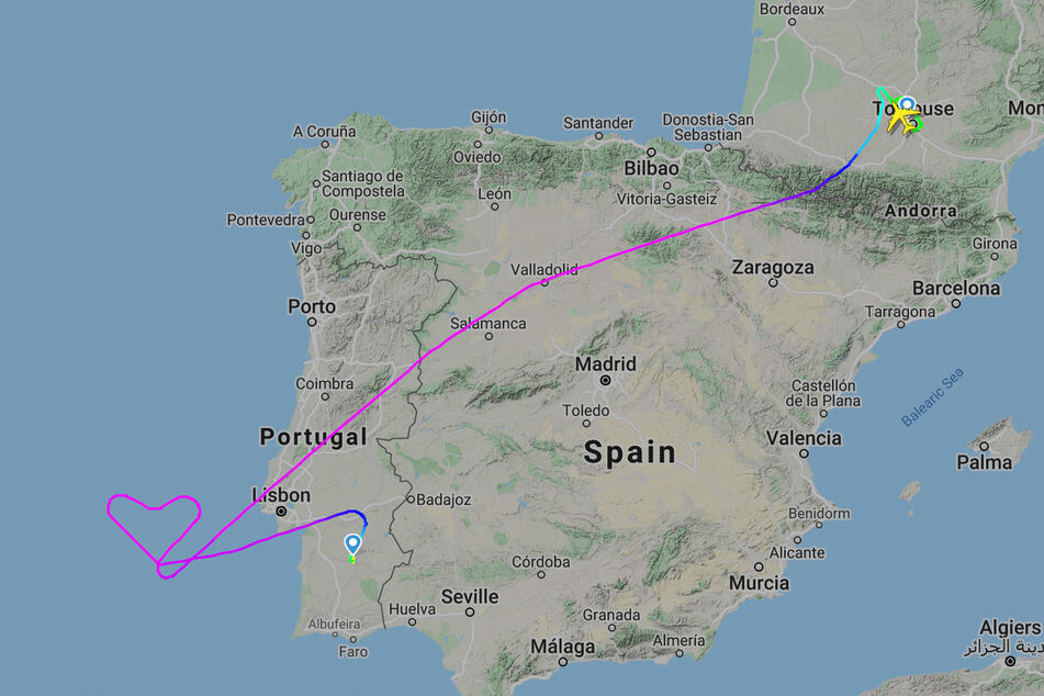 Auf direktem Weg wäre der Airbus etwa zwei Stunden unterwegs gewesen. Mit dem Herz dauerte der Flug drei Stunden und neun Minuten.