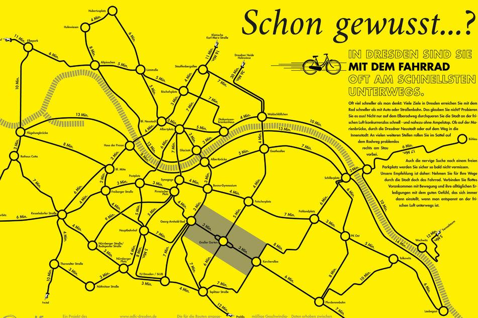 Die Karte mit den Fahrzeiten kann man über den ADFC Dresden beziehen.