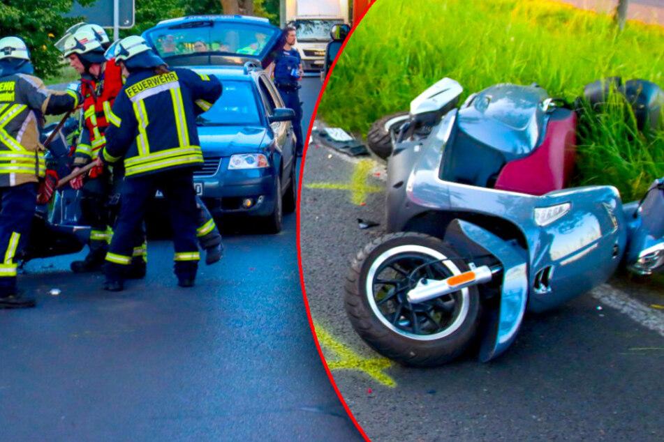 Auto fährt auf Roller auf: Fahrer kommt mit Heli ins Krankenhaus!