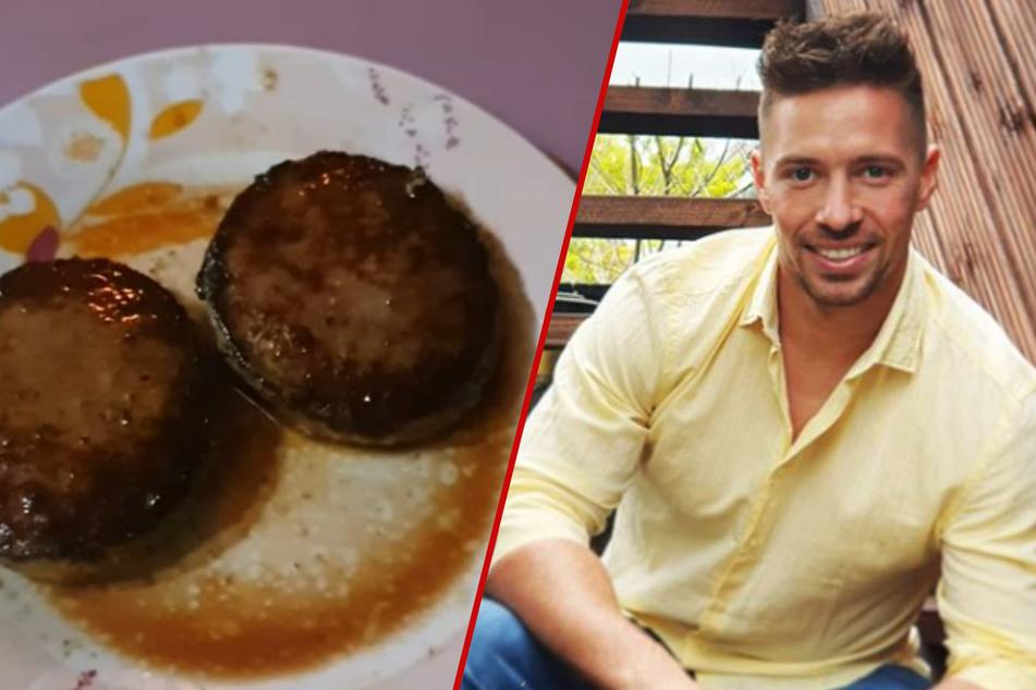 Da packte ihn der Heißhunger: Ramon (26) vernichtete einen riesigen Haufen Burgerfleisch.