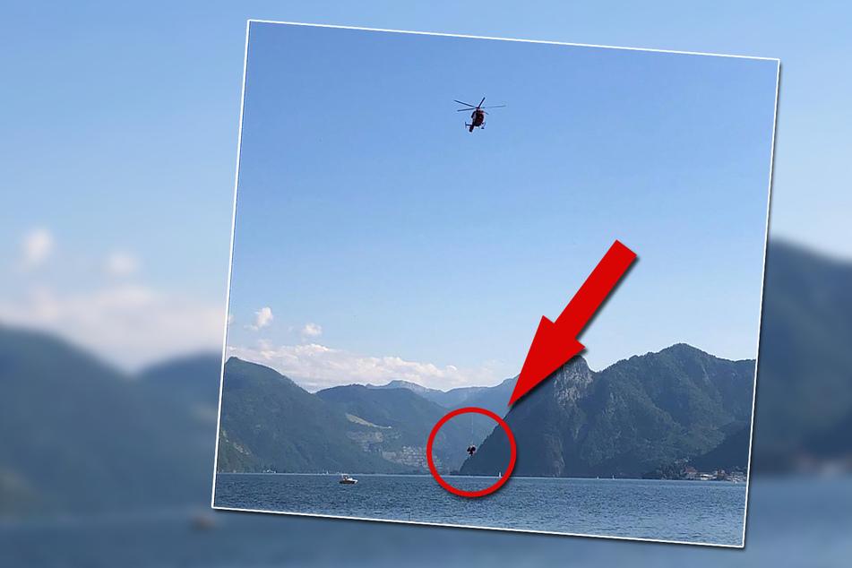 Mit einem Hubschrauber wurde die 78-Jährige aus dem Waldgebiet gerettet und ans Festland gebracht