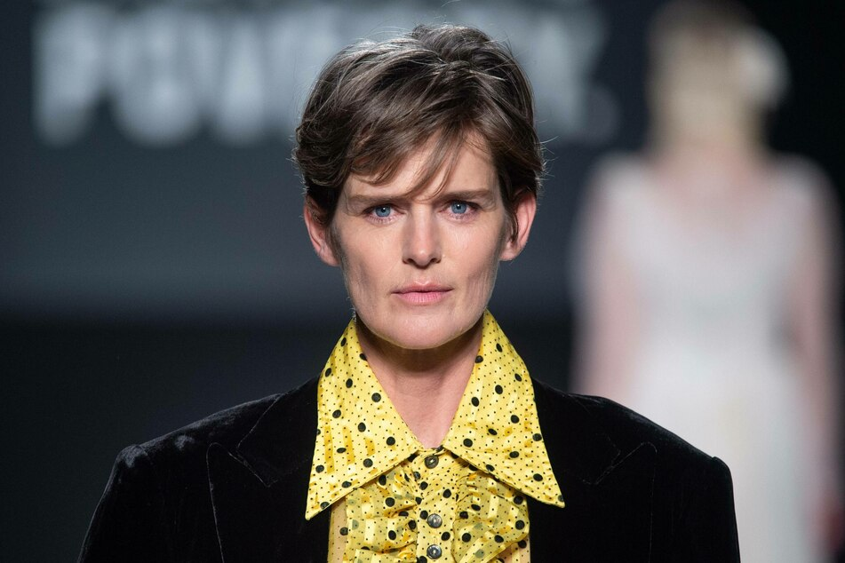 Stella Tennant on the catwalk during the Oxfam Fighting Poverty Catwalk Show fashion show during London Fashion Week 2019.