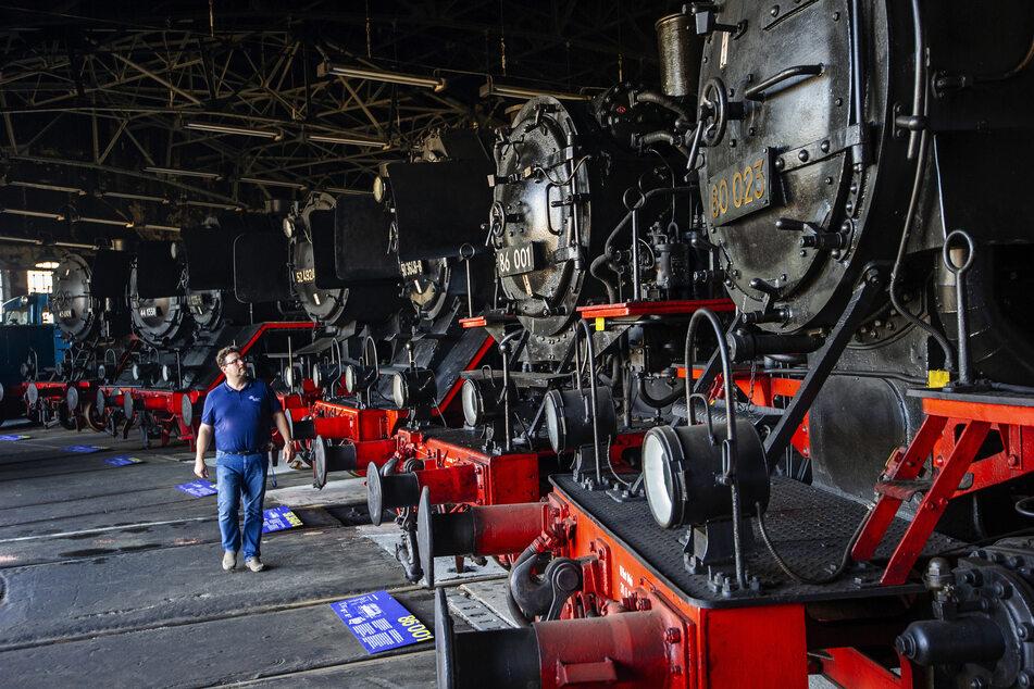 Im Ringlokschuppen schreitet Kurator Claudius Noack die Phalanx guss-stählerner Lokomotiven ab. Mehr als 50 stehen in Hilbersdorf.