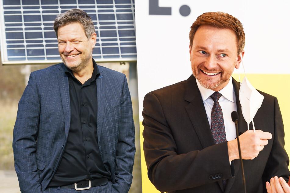 Robert Habeck (51, Bündnis90/Die Grünen) und Christian Lindner (42, FDP) sind mit dem Ausgang der Wahl zufrieden.