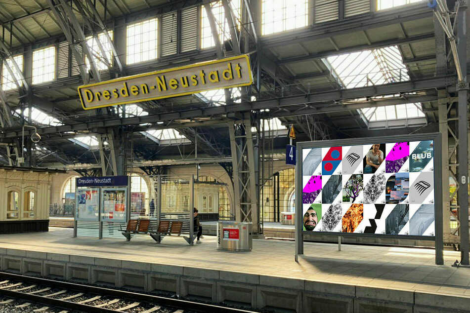 Eine Werbetafel voller Plakatkunst, hier im Bahnhof Neustadt.