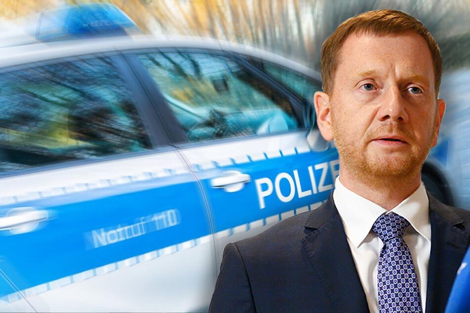In Freiberg kam es am Dienstag zu einer Corona-Demo. Dabei wurde eine Polizistin von einem Auto des Ministerpräsidenten Michael Kretschmer (46, CDU) angefahren (Symbolbild).