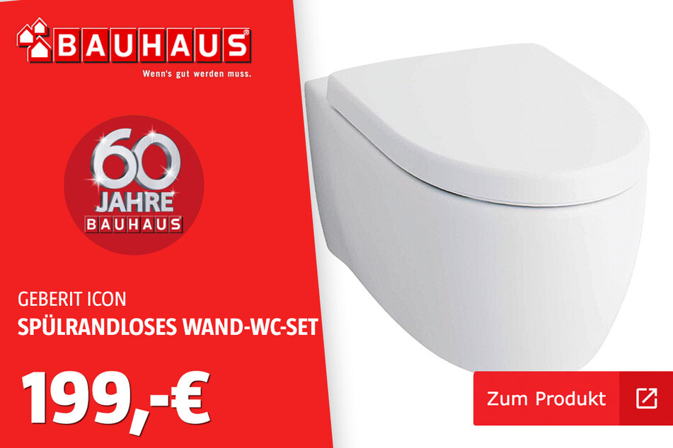 Geberit Spülrandloses Wand-WC-Set 'iCon' für 199 Euro.