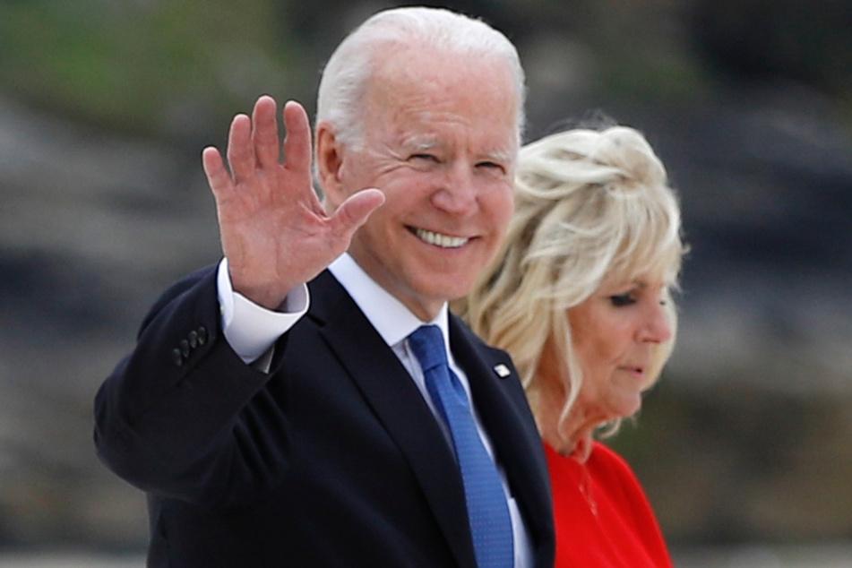 St. Ives: Joe Biden, Präsident der USA, und First Lady Jill Biden kommen zum G7-Gipfel am Carbis Hotel an.