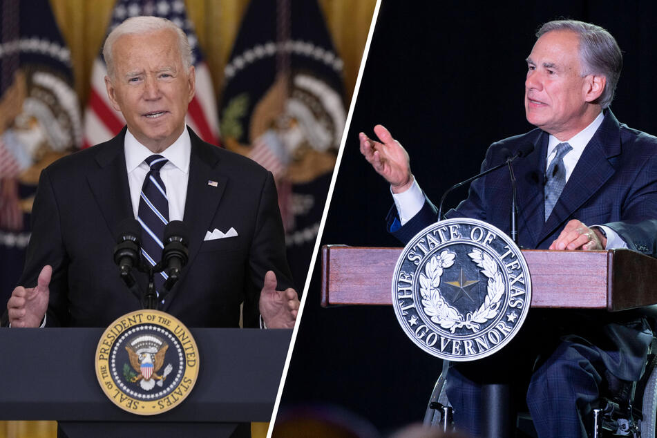 US President Joe Biden (l.) and Texas Governor Greg Abbott are at odds over mask mandates in public schools.