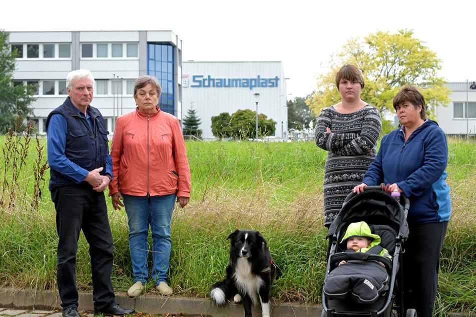 """Ihnen stinkt der """"Schaumpalast"""": die Nossener Gerhard (71, v.l.n.r.) und Erika Hesse (70), Sarah Müller (26), Ines Thiele (52) und Enkel Lucas (10 Monate)."""
