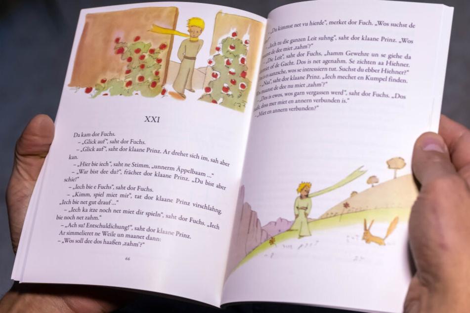 Bilder über und unter dem Text helfen dabei, die Geschichte auch auf Erzgebirgisch zu verstehen.