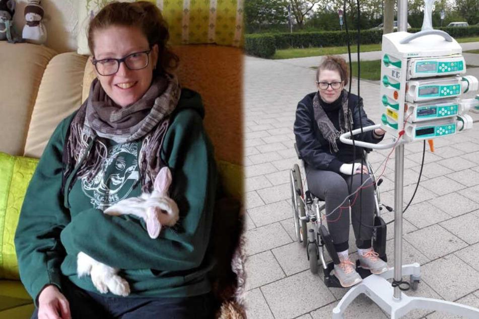 Lisa bei einer Untersuchung in München im Mai 2019 (rechts im Bild) und auf einer Couch sitzend mit einem Hasen im Arm. (Fotomontage)