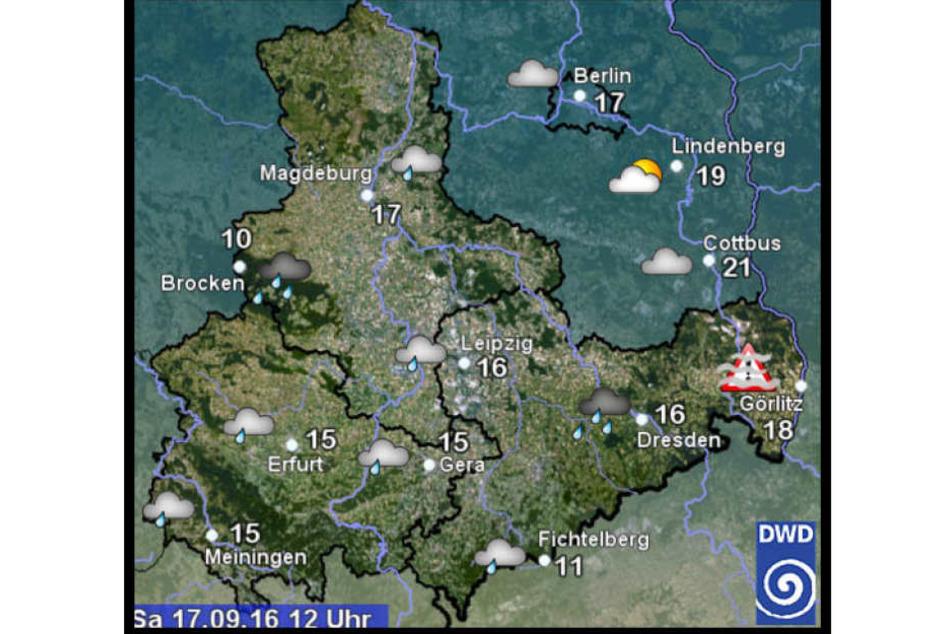 Der Deutsche Wetterdienst warnt vor Dauerregen in Sachsen und Thüringen.
