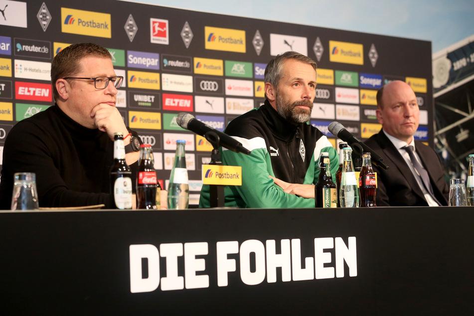 Der Sportdirektor von Borussia Mönchengladbach Max Eberl, Trainer Marco Rose und Geschäftsführer Stephan Schippers (v.l).