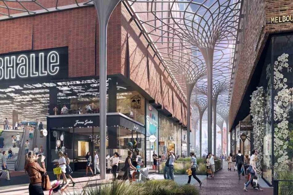 Die Visualisierung zeigt Teile der Shopping-Möglichkeiten des südlichen Überseequartiers in Hamburg.