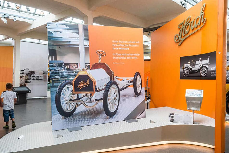 Noch steht im Museum nur ein Bild des alten Horch. Bald folgt das ganze Auto.