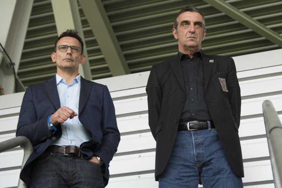 Born, Minge (v.li.) und ein Anwalt vertraten Dynamo am Mittwoch in Frankfurt.