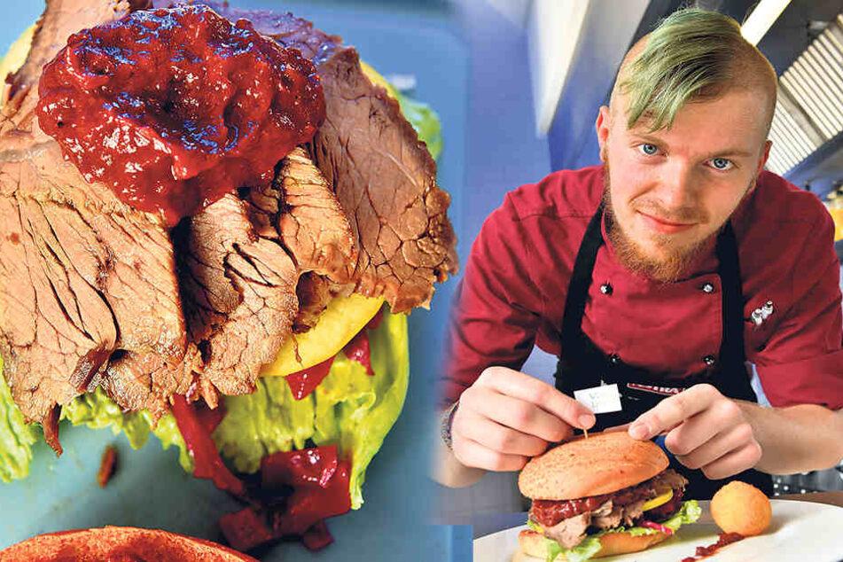 Koch Christian Wagner hisst noch ein Vogtland-Fähnchen auf dem fertigen Burger.