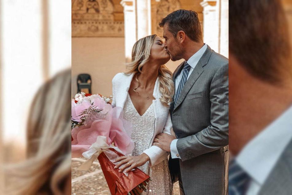 Nach der Trauung küssten sich Isabel Gülck und ihr Ehemann Carlos Lucio.