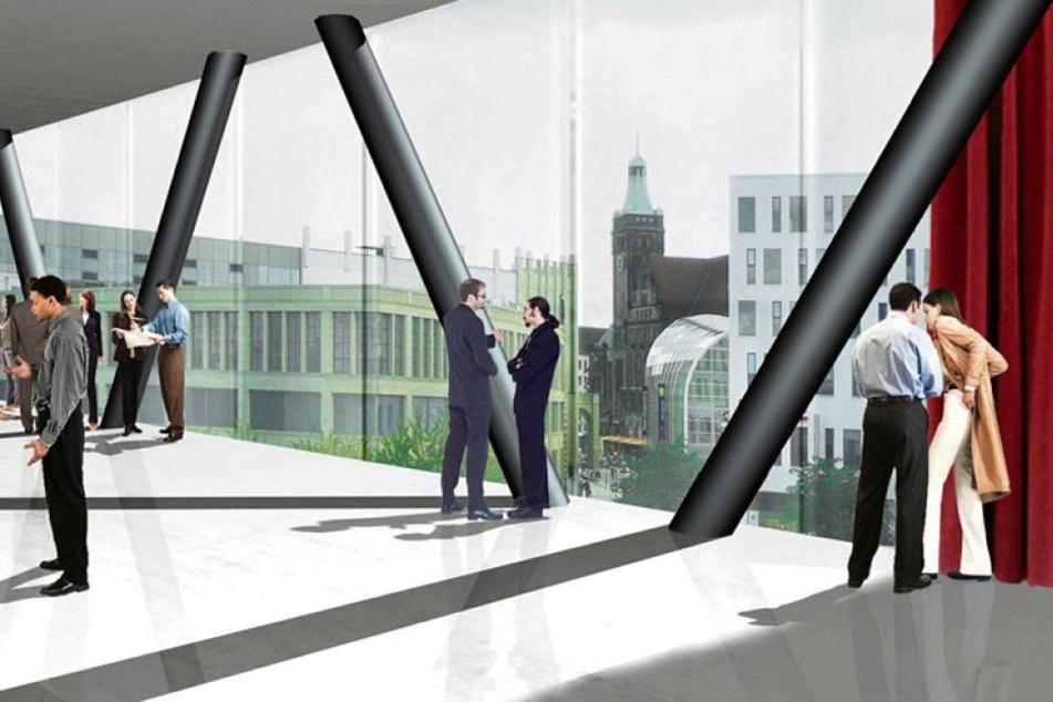 So könnte das Kongresszentrum nach einem Architekturwettbewerb an der Stadthalle aussehen.