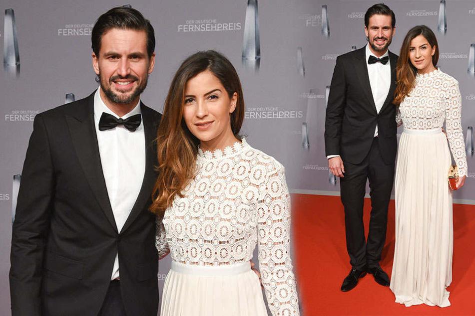 Der Schauspieler Tom Beck und seine Freundin Chryssanthi Kavazi beim Deutschen Filmpreis 2016 in Düsseldorf.