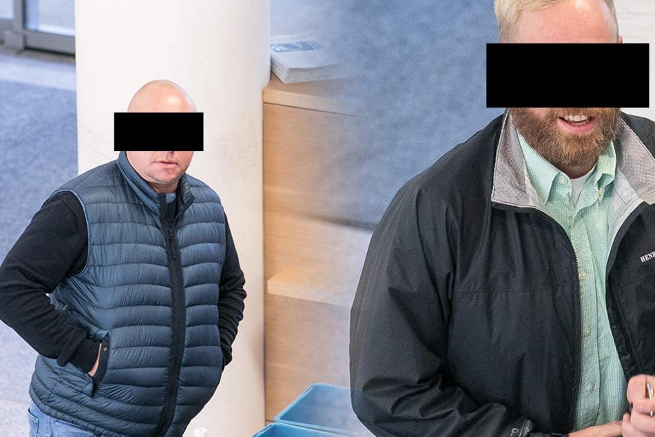 Ralf R. (30, r.) soll die Pauli-Kicker attackiert haben. Die Staatsanwaltschaft wirft Mike H. (43., l.) vor, mitrandaliert zu haben.