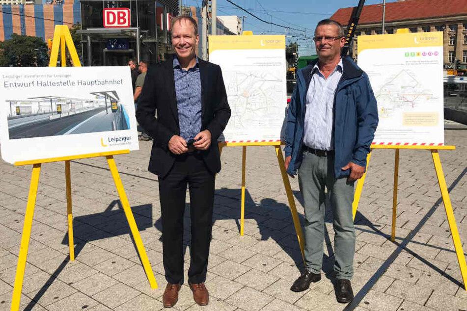 Dirk Sikora, Bereichsleiter Infrastruktur, und Matthias Lietze, Leiter der Verkehrsorganisation der LVB, stellten die Maßnahmen der zweiten Bauphase vor.