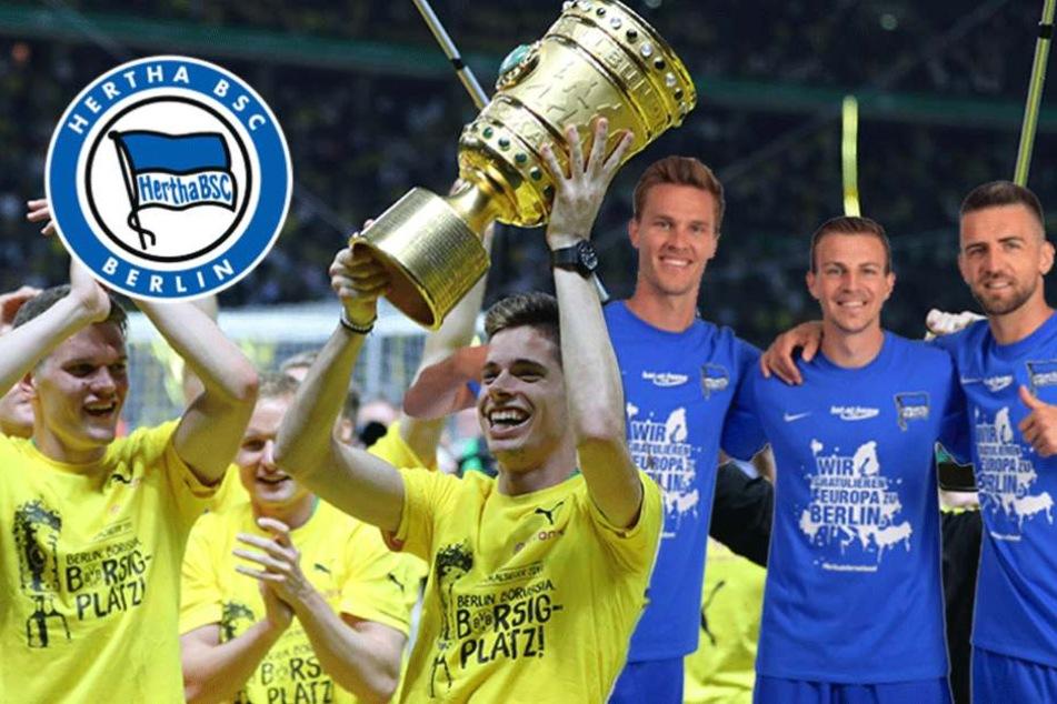 Hertha feiert den Dortmunder Pokalsieg