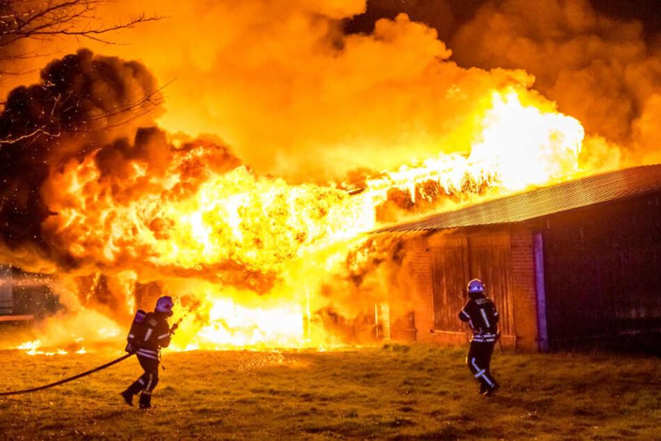 Die Feuerwehr bekämpft die Flammen.