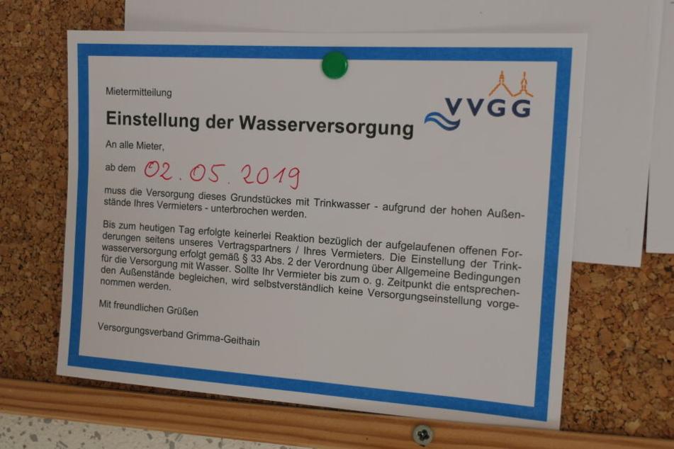 Das drohte nun der Versorgungsverband Grimma-Geithain. Hintergrund sind wohl offene Rechnungen seitens des Vermieters bei dem Wasserversorger.