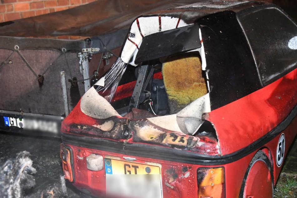 Das französische Elektroauto brannte komplett aus.