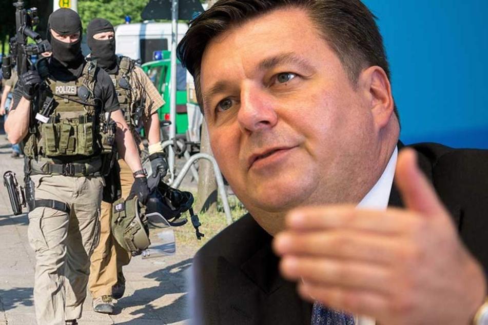 Berlins SPD-Innensenator Andreas Geisel will entschieden gegen Gewalttäter vorgehen und die Polizei besser ausrüsten. (Bildmontage)