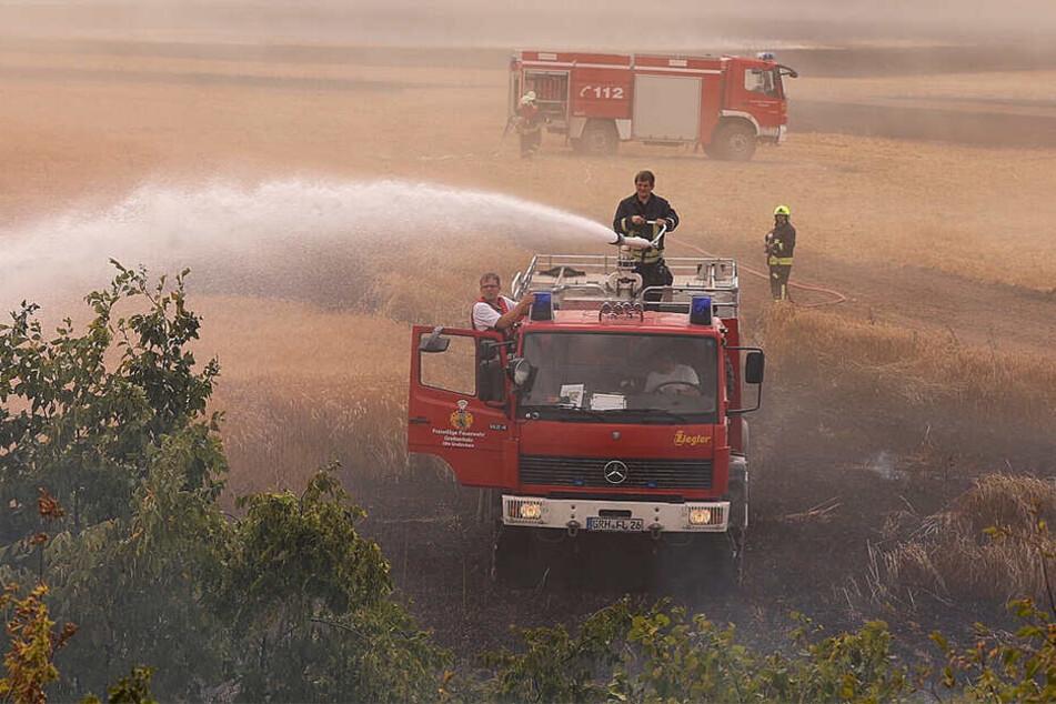Mit viel Wasser rückten die Einsatzkräfte dem Feuer zu Leibe.