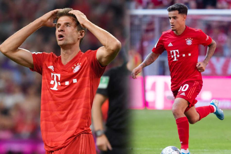 Ob Thomas Müller (l) oder Philippe Coutinho gegen RB Leipzig auflaufen wird, ist noch unklar. (Bildmontage)