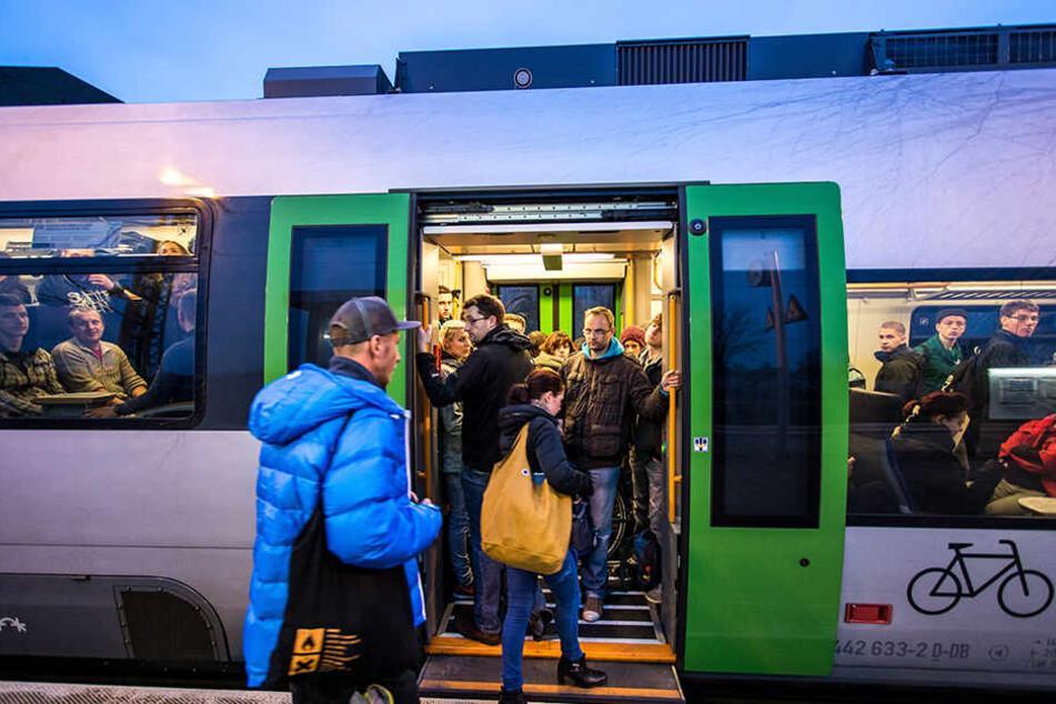 Eine S-Bahn auf dem Weg in Richtung Halle (Saale). Durch Bauarbeiten an Gleisen und Weichen in Leipzig fahren mehrere S-Bahn-Linien nur eingeschränkt.