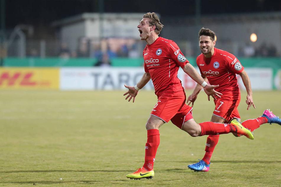 Tom Schütz traf in Walldorf zum zwischenzeitlichen 1:0 für die Bielefelder.