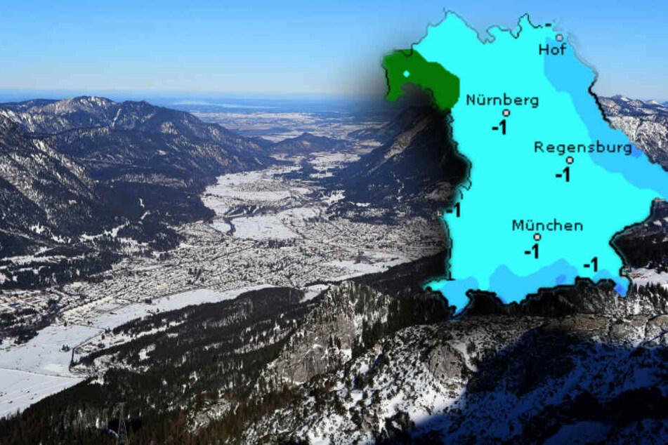 Garmisch-Partenkirchen ist schon leicht gezuckert, in den nächsten Tagen könnte wieder Schnee fallen. (Bildmontage)