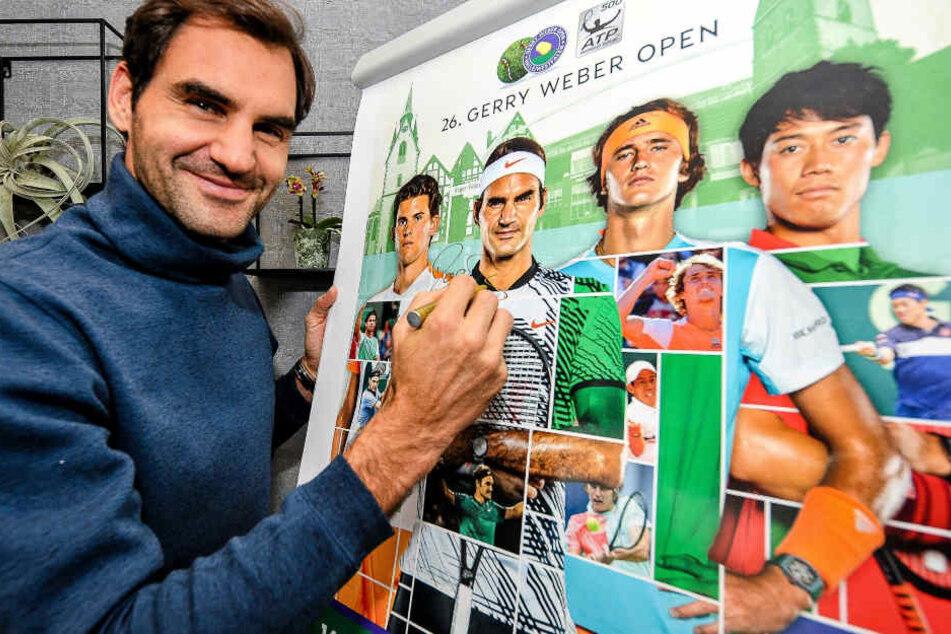Zum 6. Mal wird Federer im Sommer in Halle auflaufen.