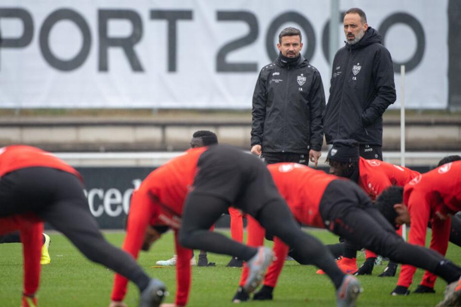 Beim Training: Athletiktrainer Martin Franz (l) und Pellegrino Matarazzo, Trainer des VfB Stuttgart, schauen den Spielern beim Warmmachen zu.