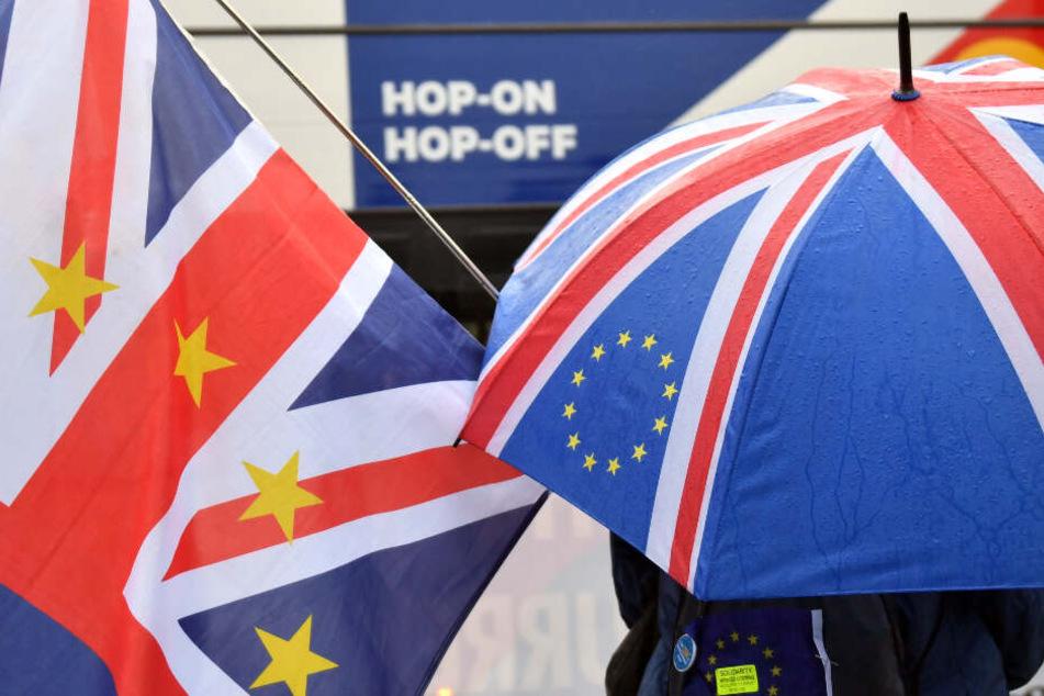 Anti-Brexit Demonstranten stehen am Mittwoch vor dem Parlament in London.