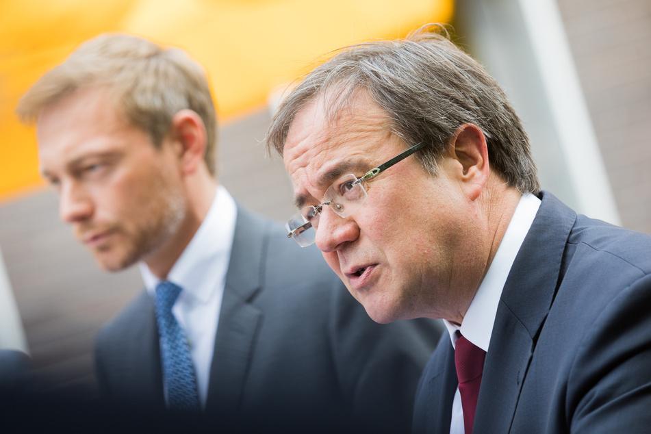 Der Vorsitzende der nordrhein-westfälischen CDU, Armin Laschet (60, r.), und der Parteivorsitzende der FDP, Christian Lindner (52, l.).