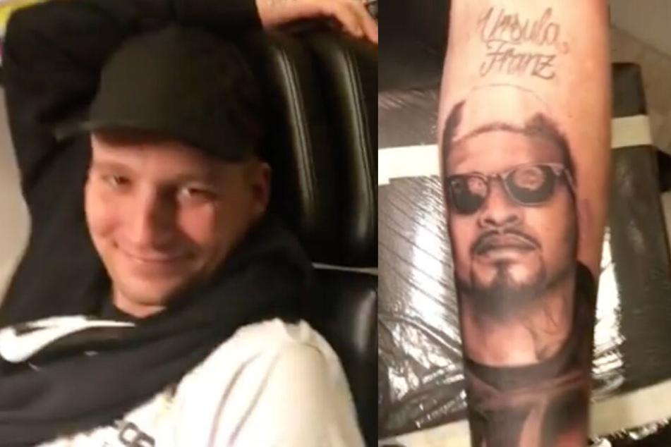 Der Rapper LX ließ sich am Montag das Gesicht von Maxwell tätowieren.