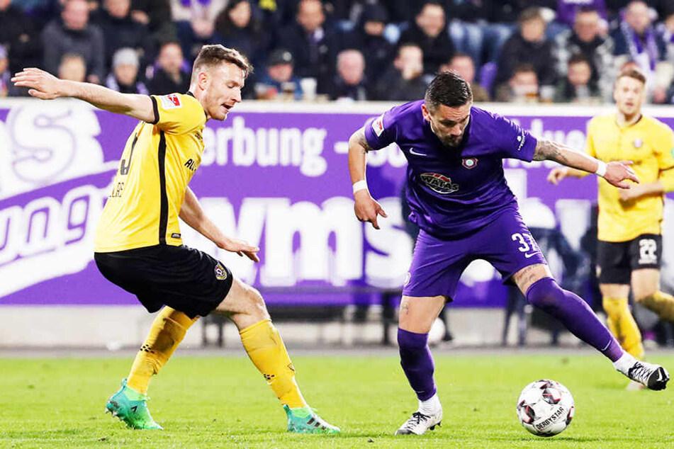 Das letzte verbliebene Ostduell in Liga zwei: Dynamo Dresden gegen FC Erzgebirge Aue. (Archivbild)