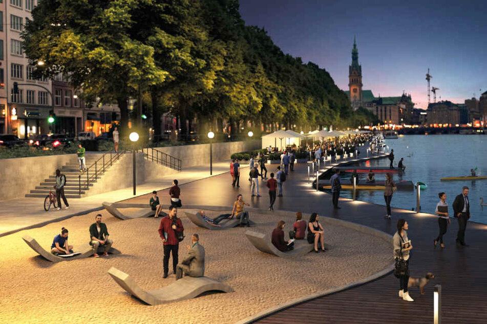 Auch nach Sonnenuntergang soll die Promenade Einheimische und Touristen anziehen.