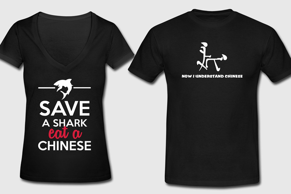 Für die chinesische Botschaft in Berlin sind diese T-Shirt-Motive beleidigend.