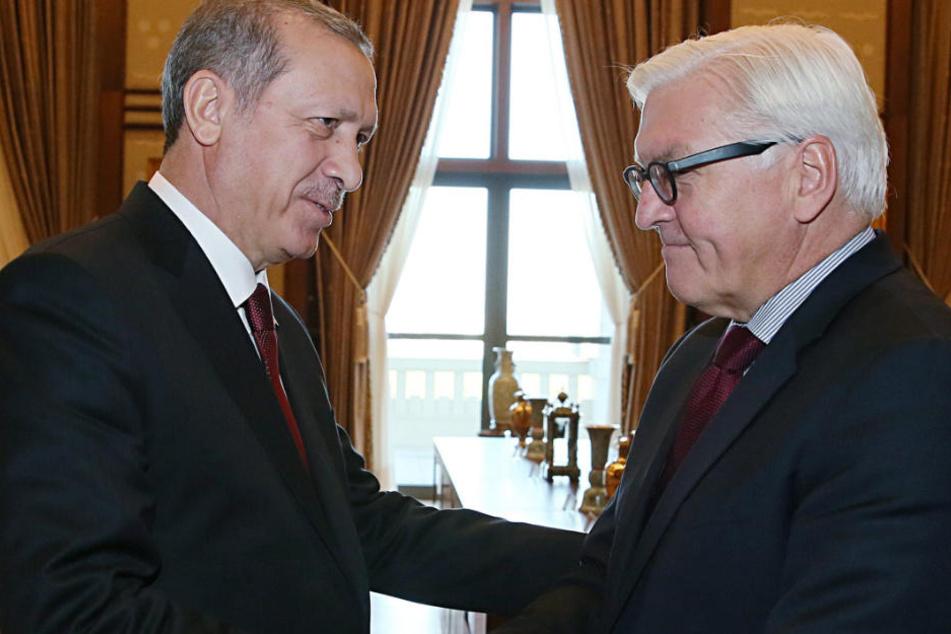 Der türkische Staatspräsident Recep Tayyip Erdogan (r) und der damalige Bundesaußenminister Frank-Walter Steinmeier bei einem Treffen in Ankara.