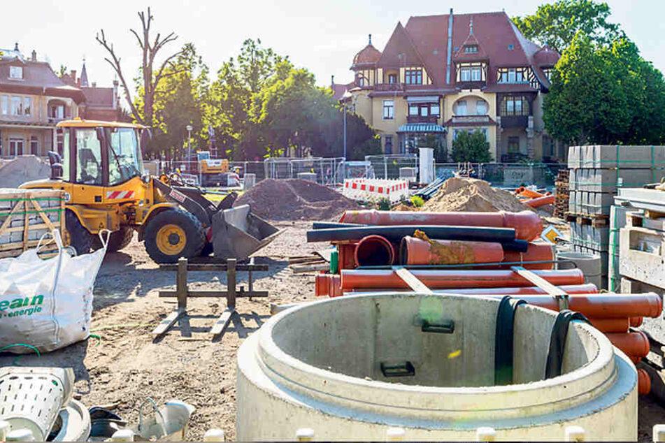 An der Oskarstraße in Strehlen kann nach über einem Jahr Baustopp wieder gearbeitet werden.
