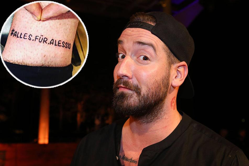 Jan Leyk lässt sich Alessio-Tattoo stechen